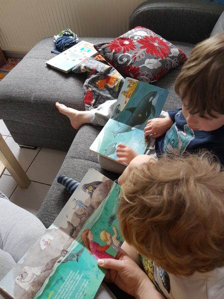 Brüder schauen zusammen Bücher an.