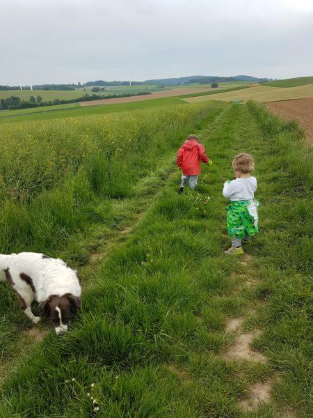 Zwei Kinder und ein Hund gehen spazieren